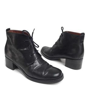 Etienne Aigner Black Leather Lace Up Ankle Boots